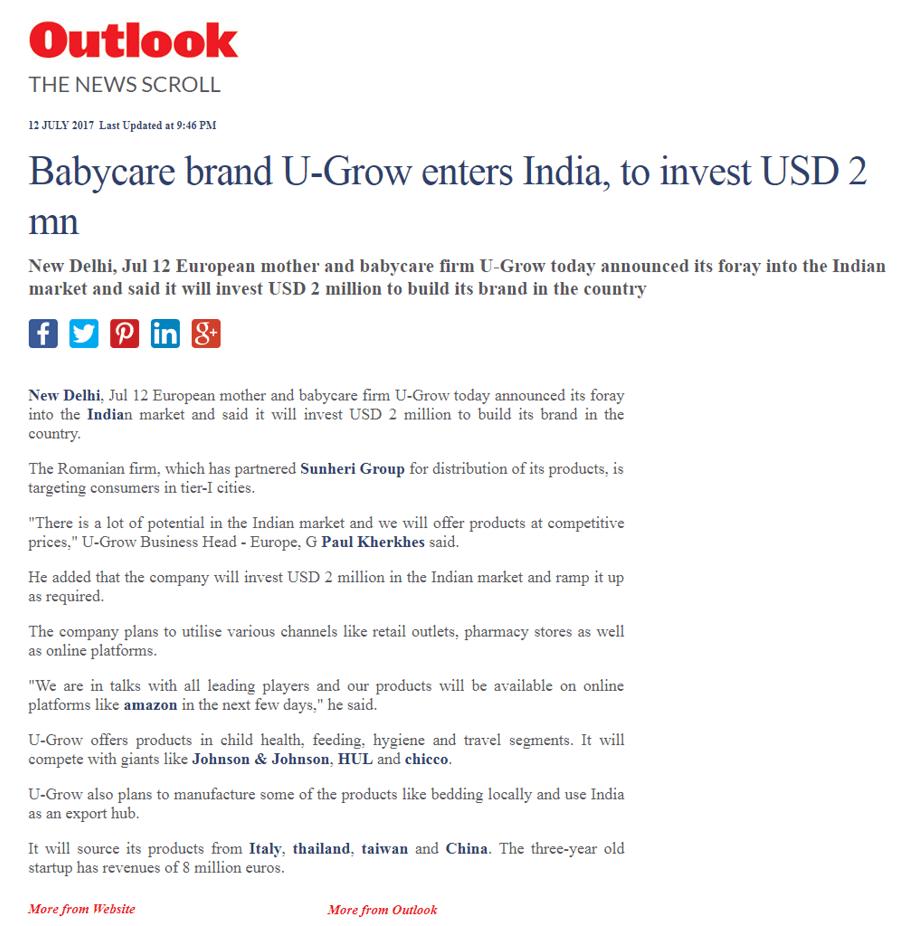 U-grow Featured in Outlook
