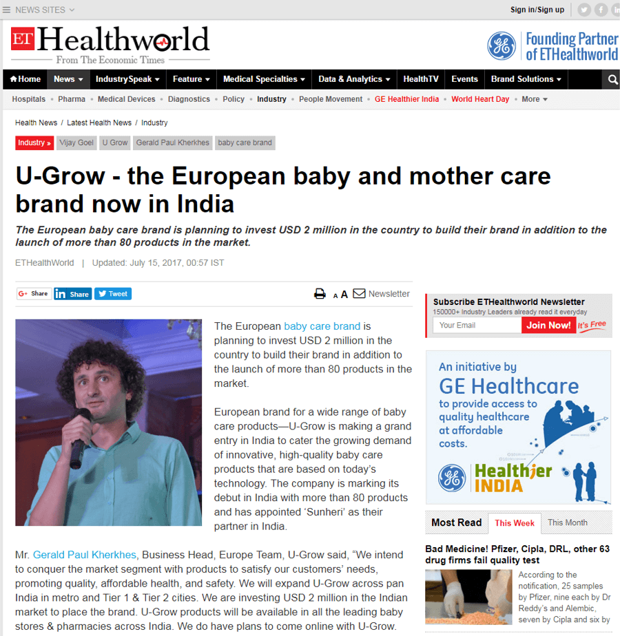 U-grow Featured in Economic Times