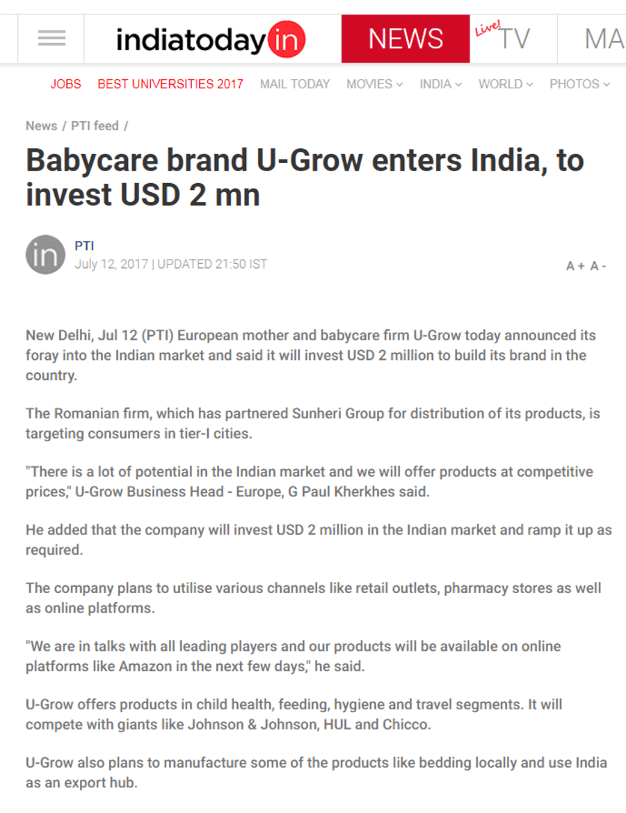 U-grow Featured in India Today