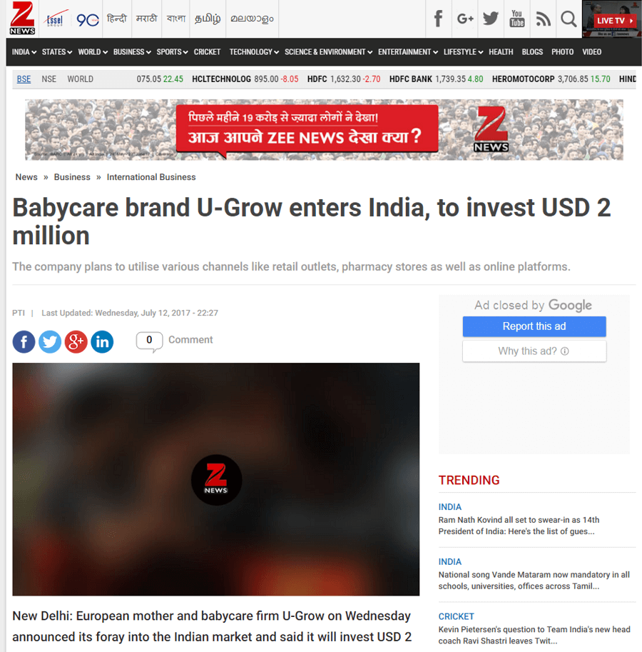 U-grow Featured in Zee News