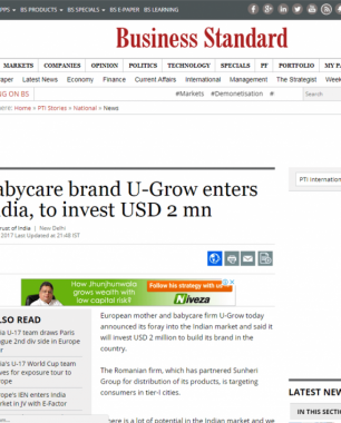 U-grow Featured in Business Standard