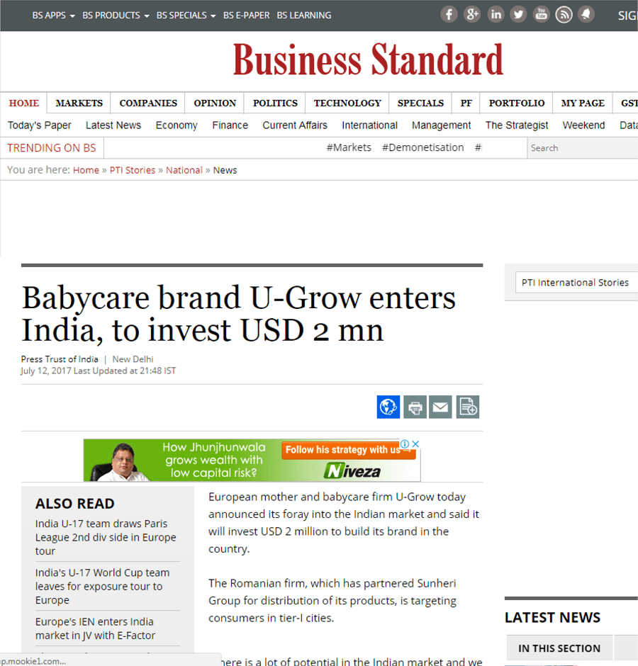 U-grow Featured in Business Standard