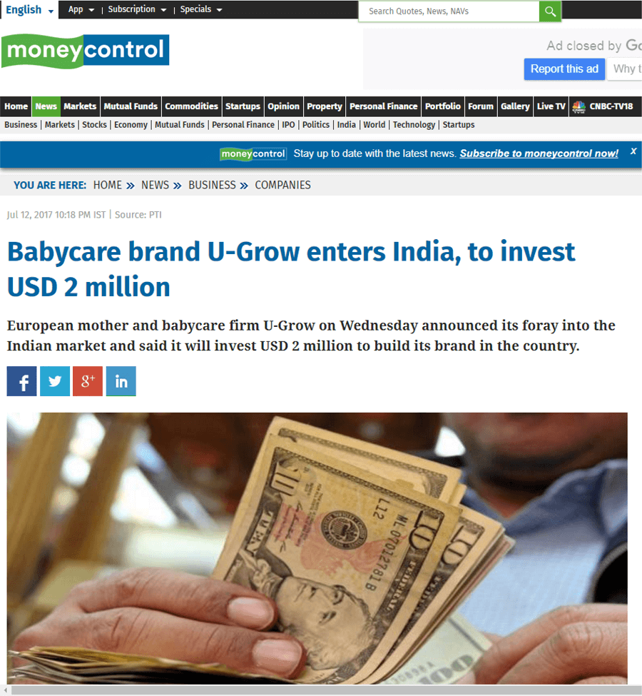 U-grow Featured in Money Control