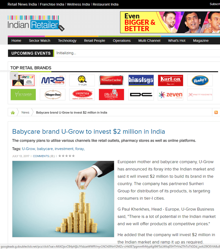 U-grow Featured in Indian Retail