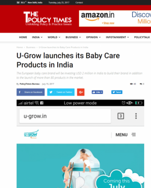 U-grow Featured in The Policy Times